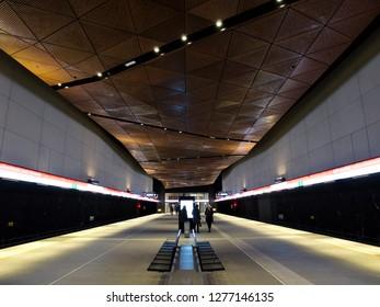 Helsinki, Finland. January 7 2019 - Aalto-Universitty (Aalto-yliopisto / Aalto-universitet) Metro Station, HSL Asiakaspalvelupiste Metro Rautatientori(Helsinki - Espoo Area Metro)