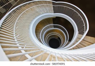 HELSINKI, FINLAND -JUL 18,2016: Fabianinkatu 30, University Library. Spiral staircase with white railing