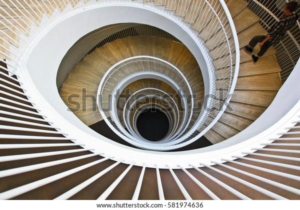 HELSINKI, FINLAND -JUL 18,2016: Fabianinkatu 30, University Library. Spiral staircase