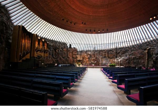 HELSINKI, FINLAND -JUL 18,2016: Hall of the Temppeliaukio Church.