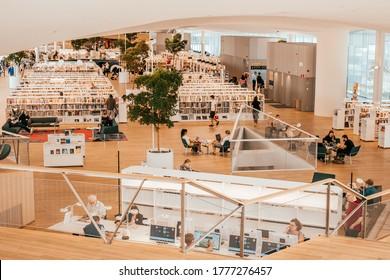 Helsinki, Finland - July 1, 2019: modern interior of The Helsinki Central Library Oodi, public library in Helsinki.