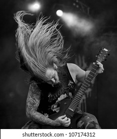 HELSINKI, FINLAND - JULY 1: American extreme metal band Suicide Silence performs live on stage July 1, 2012 at 15th annual Tuska Open Air Metal Festival in Suvilahti, in Helsinki, Finland