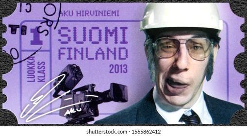 HELSINKI, FINLAND - JULY 12, 2013: A stamp printed in Finland shows Aku Heikki Ilmari Hirviniemi (born 1983), the centenary of the Union of Finnish Actors, 2013