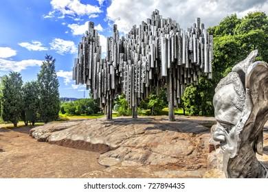 HELSINKI, FINLAND - JULY 18, 2016:  Monument to Finnish composer Jan Sibelius in Helsinki. Finland.