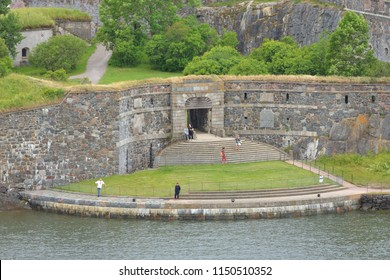 HELSINKI, FINLAND - JULY 19, 2018: Kuninkaanportti or Kungsporten (King's gate), principal entrance to fortress Suomenlinna (Sveaborg). It is considered main symbol of Suomenlinna