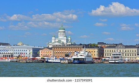 HELSINKI, FINLAND - JULY 19, 2018: Kauppatori Market Square and port.  Cruise ships and ferries to Suomenlinna