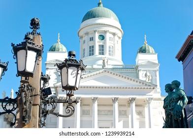 Helsinki / Finland - July 20 2016: Helsinki Finland Cathedral with Blue Sky