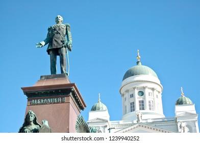 Helsinki / Finland - July 20 2016: Helsinki Finland Cathedral with Alexander II Statue