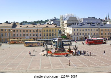 Helsinki / Finland - July 20 2016: View of Senate Square from Helsinki Cathdral steps