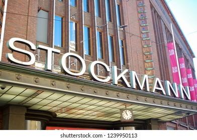 Helsinki / Finland - July 20 2016: Stockmann Department Store Sign Helsinki Finland