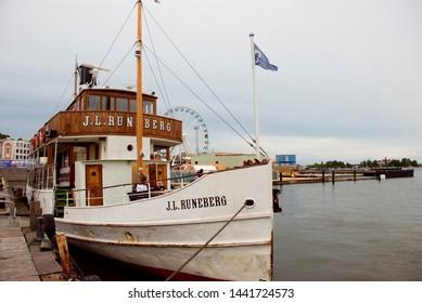 Helsinki, Finland - July 20 2016: Old passenger boat J.L. Runeberg in harbor of Helsinki, Finland