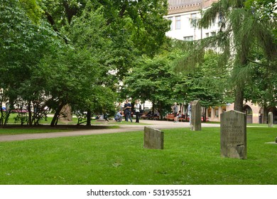 HELSINKI, FINLAND - JULY 21, 2016: Old Church Park is called Plague Park as over thousand victims of 1710 plague are buried next to park. Victims of Finnish Civil War were buried there in 1918 - 1919