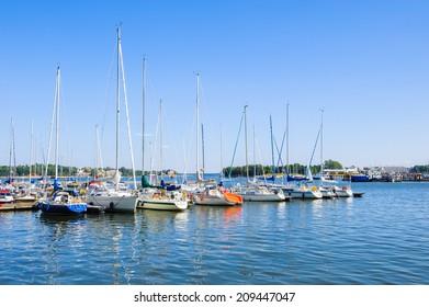 HELSINKI, FINLAND - JULY 26, 2014: Boats in Helsinki, Finland. Helsinki was chosen to be the World Design Capital for 2012