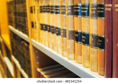 Helsinki, Finland - July 28, 2014: The Old Retro Russian  Books In Vintage Hardcovers Exposed On The Shelfs Of The National Library In Finnish Capital.