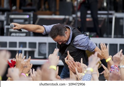 HELSINKI, FINLAND - JULY 31:  Bruce Springsteen & the E Street Band performing live on stage on Wrecking Ball Tour July 31, 2012 at Helsinki Olympic Stadium, in Helsinki, Finland.