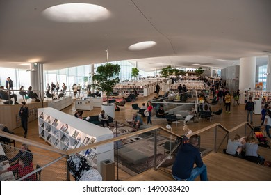 Helsinki, Finland - July 4, 2019: new Helsinki Central Library building - Oodi. Interior of the upper floor. Public Library of 2019 by the International Federation of Library Associations.