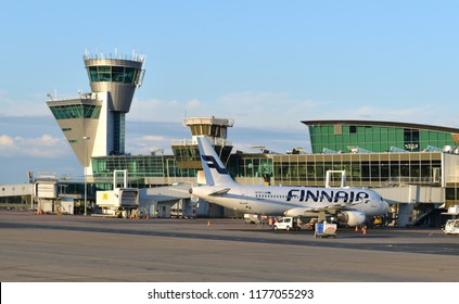 HELSINKI, FINLAND - JULY 7, 2018: Helsinki Airport. Terminal building and control tower