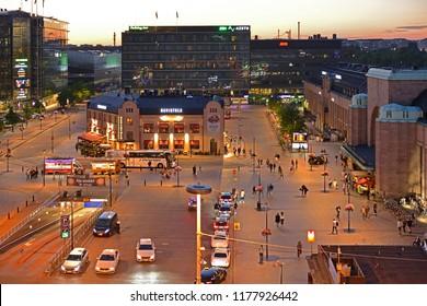 HELSINKI, FINLAND - JULY 7, 2018: Square of Main railway station
