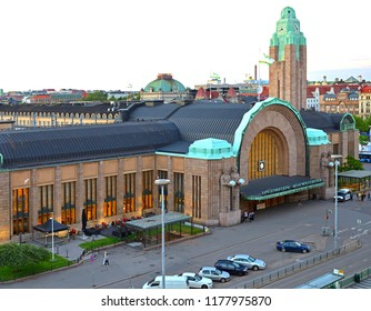 HELSINKI, FINLAND - JULY 7, 2018: Central Station, main station for commuter rail and long-distance trains departing from Helsinki
