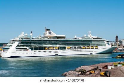 HELSINKI, FINLAND - JULY 7: Passenger ship Brilliance of the Seas in port  on July 7, 2013 Helsinki, Finland. The 90,090-ton, 2,112-passenger ship  is the second in Royal Caribbean's.
