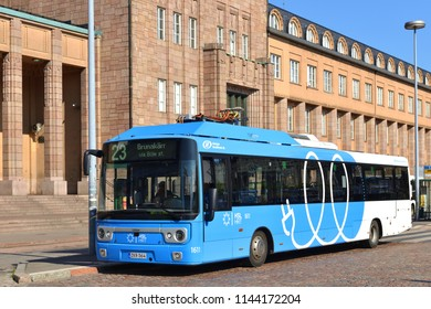 HELSINKI, FINLAND - JULY 8, 2018: Linkker buses are first fast-charging electric buses in Finland