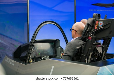 Exceptional HELSINKI, FINLAND   JUNE 09, 2017: Specialists Are Testing The Flight  Simulator Fighter