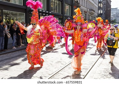 HELSINKI, FINLAND - JUNE 10, 2017: Helsinki Samba Carnaval celebration on the streets of Helsinki, Finland on June 10, 2017
