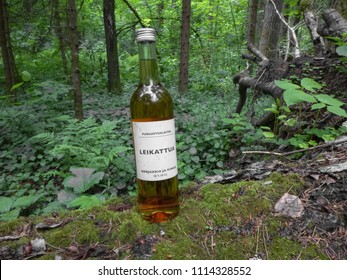 HELSINKI, FINLAND - JUNE 12 2018: Tasting of Leikattua drink in the forest. One of Finland's most popular alcoholic beverages (38%). Illustrative editorial