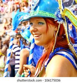 HELSINKI, FINLAND - JUNE 16: An unidentified dancer participates at the annual Samba Carnaval in Helsinki, Finland on June 16, 2012