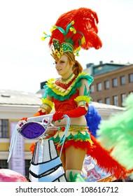 HELSINKI, FINLAND - JUNE 16: Unidentified dancers participate at the annual Samba Carnaval in Helsinki, Finland on June 16, 2012