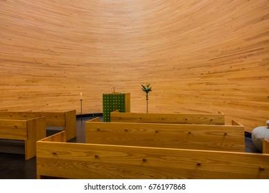 HELSINKI, FINLAND - JUNE 19, 2017: Interior of Kamppi Chapel or Chapel of Silence (Kampin kappeli, K2S Architects, 2012 ) - a Lutheran chapel in Kamppi, Helsinki, located on Narinkkatori Square.