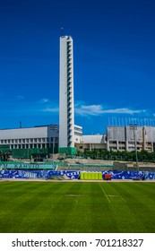 HELSINKI, FINLAND - JUNE 19, 2017: Olympic stadium (Helsingin Olympiastadion) in Helsinki, largest stadium in the Finland. Construction of Olympic Stadium began in 1934 and it was completed in 1938.