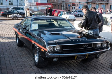 Helsinki, Finland -02 June 2017 - Old car Dodge Challenger