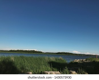 Helsinki, Finland. June 21 2019 - Beautiful summer scenery of midsummer day(Juhannus) Eve in Finland