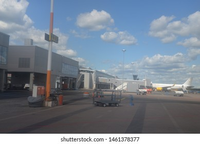 Helsinki, Finland – June 22, 2019: Vueling Airlines at Helsinki Vantaa Airport in Finland, Northern Europe