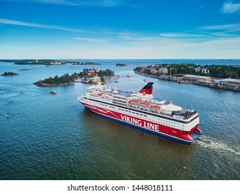 HELSINKI, FINLAND - JUNE 23, 2019: Aerial view of Viking line ferry boat Gabriella leaving port in Helsinki, Finland