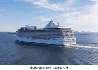HELSINKI, FINLAND - JUNE 27, 2018: Oceania Cruises cruise ship Marina approaching Helsinki, Finland.