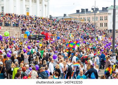 Helsinki Finland- June 29, 2019: People in helsinki cathedral for LGBT pride parade. Almost 100.000 people attended the pride parade in finland.
