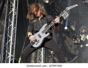 HELSINKI, FINLAND - JUNE 29: American heavy metal band Megadeth performs live on stage June 29, 2012 at 15th annual Tuska Open Air Metal Festival in Suvilahti, in Helsinki, Finland.