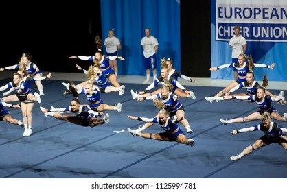 Helsinki, Finland - June 30, 2018: Team Wild Flyers from Finland performing at The ECU European Cheerleading Championships 2018. The team won the silver medal on Senior All Girl Premie -category.