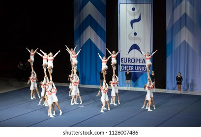 Helsinki, Finland - June 30, 2018: Team Elite from Finland performing at The ECU European Cheerleading Championships 2018. The team won the bronze medal on Senior All Girl Premie -category.
