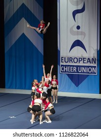 Helsinki, Finland - June 30, 2018: Team Spartan Warrios from Hungary  performing at The ECU European Cheerleading Championships 2018 on Senior Coed Elite -category.