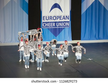 Helsinki, Finland - June 30, 2018: Team Made over from Italy performing at The ECU European Cheerleading Championships 2018 on Senior Hip Hop Cheer Dance Teams -gategory.