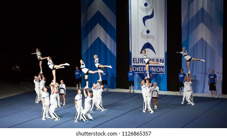 Helsinki, Finland - June 30, 2018: Team Gorillaz from Finland performing at The ECU European Cheerleading Championships 2018. The Team won gold medal on Senior Coed Premier -category.
