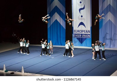 Helsinki, Finland - June 30, 2018: Team Dolphins Coed from Germany performing at The ECU European Cheerleading Championships 2018 on Senior Coed Premier -category.