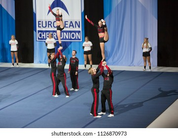 Helsinki, Finland - June 30, 2018: Team Viqueens Force from Norway performing at The ECU European Cheerleading Championships 2018, The Team won bronze metal on Senior Coed Premier -category.
