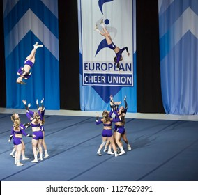 Helsinki, Finland - June 30, 2018: Team Vikings from Austria  performing at The ECU European Cheerleading Championships 2018 on Senior All Girl Premie -category.