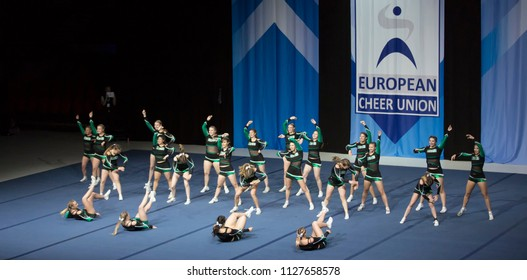 Helsinki, Finland - June 30, 2018: Team ÖBV Fierce Dragons from Austria  performing at The ECU European Cheerleading Championships 2018 on Senior All Girl Premie -category