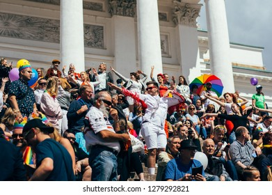 Helsinki, Finland - June 30, 2018: Dance flashmob on stairs of Cathedral on Helsinki pride festival on Senate square