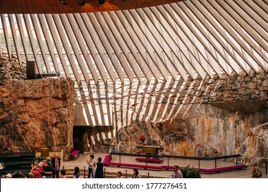 Helsinki, Finland - June 30, 2019: Pipe Organ in Temppeliaukio Church, also known as the Church of the Rock and Rock Church, a Lutheran church in Helsinki.